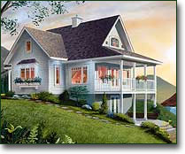 Small Country Cabin House Plan, Cabin with Walkout Basement : The